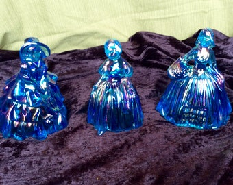 Set of three (3) vintage Carnival Glass or Iridescent Southern Belle figures