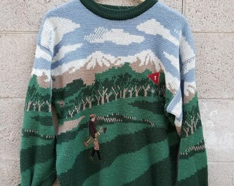 Vintage 1990s Knit Golfer Guy Hipster Sweater