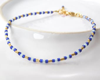 Anklets Toho beads blue, gold and Mint