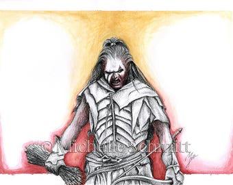 Fighting Uruk-hai - A4 giclée print of original artwork.