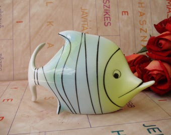 Vintage Hungarian Holohaza porcelain fish figurine,, stamped,handpainted