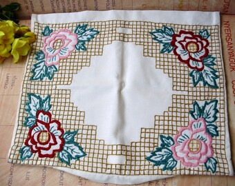Vintage Hungarian  ,handembroidered pillowcase, flower/rose pattern