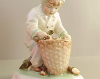 Large,Vintage,Hungarian, ZSOLNAY porcelain child w.basket,hand painted
