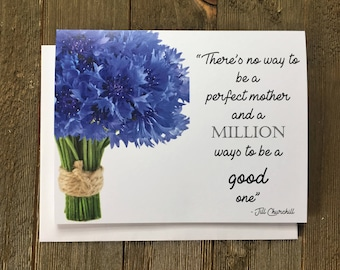 Mother's Day Card - Mother - Mom - Card - Card for Mother - Card for Mom - Mum - Blue Flower  - Cornflower - Blue - ALS - Mom Birthday Card
