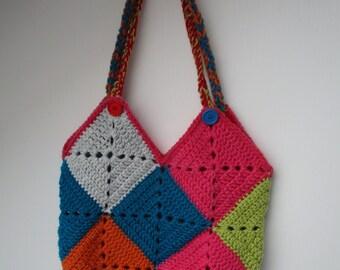Hand Crocheted Boho Shopping/Tote Bag
