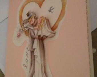 """Card 3D """"wedding in a golden heart"""""""