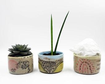 Handmade Wheel Thrown Ceramic Flower Planter, Cacti Succulent Pot, Ceramic Pot, Coworker Gift, Desk Planter