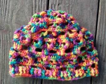 Skull beanie adult hat, rainbow, skull winter hat, skull beanie