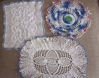 Three Lovely Vintage Crochet Doilies