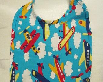 Planes; Jets; Bi-Planes! Baby Bib. Colorful! 100% Cotton. Handmade.