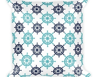 Ship's Wheel Pattern Throw Pillow
