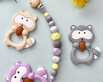 Purple, yellow and grey pacifier clip, silicone teethers, icecream, raccoons, feet teethers, baby gift, teething toys, chewlery, baby girl,