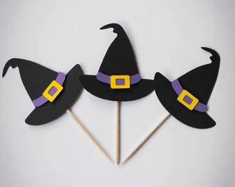 Witch Hat Cupcake Toppers, Halloween Cupcake Toppers, Cupcake Toppers, Witch, Halloween, Toppers