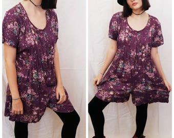 Vintage 90s Purple Floral Romper Jumper Playsuit Mini Dress Size Small Medium
