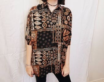 90s Tribal Top. 90s Tunic. 90s Blouse. Graphic Print.  Black and Brown. Size Medium Large