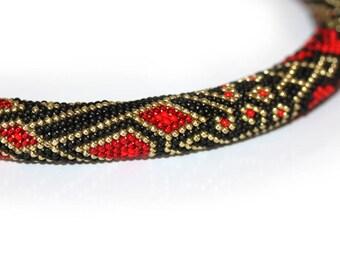 Beaded Crochet Necklace  Rope Black Red Gold Gift for Her for Mom Original. Roses. Christmas Gift.