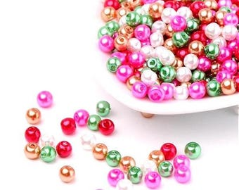 100 Pearly beads 4 mm in different colors mixed spring