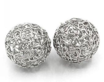 3 beads balls Twist asymmetrical Metal 24 mm silver cross