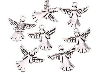 10 antique silver Angel charms
