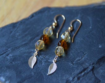 14K Gold Filled Leaf Earrings with Czech Glass Beads