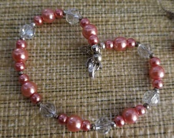 Pink pearl and crystal bracelet and earring set