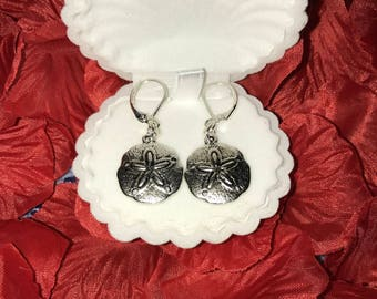 Valentine's Day Gift~ Silver Sand dollar earrings/