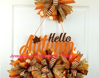 Autumn wreath, Fall wreath, Thanksgiving wreath, Wall décor, Front door wreaths, Outdoor sign, Door Décor, Deco Mesh Wreath, Brown wreath