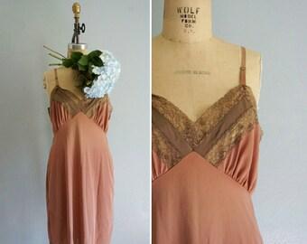 1960s Cocoa Lace slip | vintage lace slip | vintage 60s slip dress