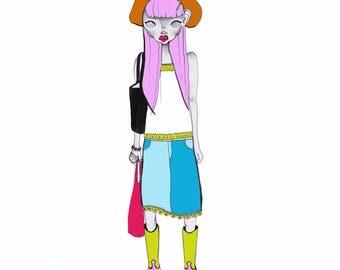Cow girl Japanese fruits fashion illustration