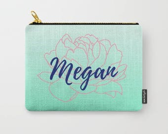 Personalized Floral Makeup Bag Large, Peony Bag, Gifts For Women Friends, Birthday Gifts for Bestfriend, Flower Accessories, Custom Colors
