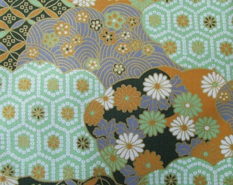 Japanese fabric coupon mixture of flowers in shades of green / grey 50 x 55 cm