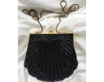 Black Beaded Clutch / Evening clutch / Vintage bag / Great Gatsby / 1920's / Evening Bag / Black clutch / Hand beaded bag