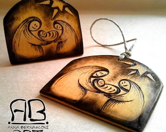 "Decoration ""Nativity 01"" in burning wood, to hang or to support"