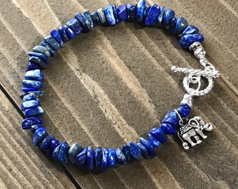 Blue Chip~Handmade Beaded Bracelet~Lapis Lazuli Chip Bracelet~Elephant Charm~Gemstone Bracelet for Women~Gift for Women~Toggle Clasp