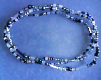 "LoliRosa Set of 3 ""Midnight"" Glass Seed Bead Stretch Anklets Summer Festivals Beach"