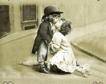 4 x single paper napkins- decoupage napkins- Love is around- Kids- Romantic couple- 33 x 33 cm , decopatch- scrap booking- art- craft, New