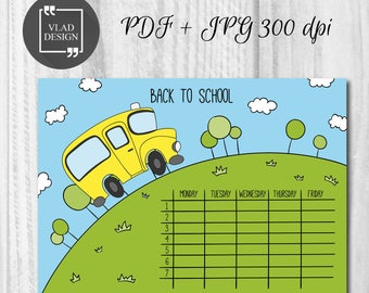 Printable School timetable School bus timetable template School planner Ready to print schedule Printable timetable
