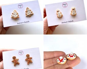 Christmas Earrings.  Choose from Christmas Tree Cookie, Snowman Cookie, Gingerbread Man Cookie and Melting Snowman Cookie.