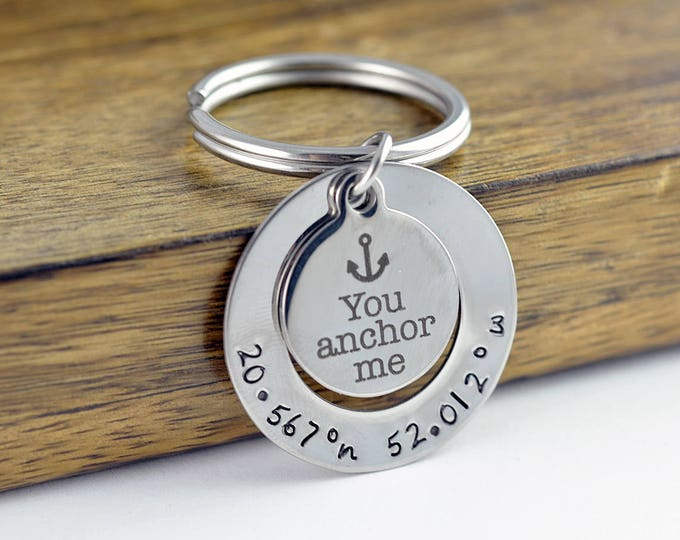 Engraved Keychain, You anchor Me, Coordinate Keychain, Gift for Boyfriend, Birthday Gift, Wedding Jewelry, Couples Jewelry, for him