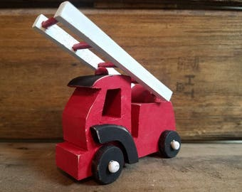 Firetruck cake topper, firetruck birthday, boy birthday, vintage fire engine, wood firetruck toy, small wooden engine, little red firetruck