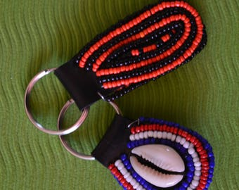 African Maasai Beaded KeyChain |  Orange Blue Beaded KeyHolder | Handbag Tassel Keychain | Leather Keychain| Sea Shell Keychain | A Set Of 2