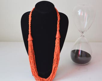African Maasai Beaded Necklace | Orange Necklace | African Jewelry | Tribal Necklace |Unique Necklace |One size fits all |Gift for Her