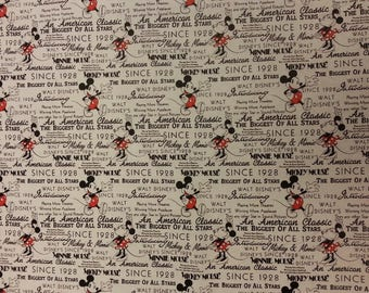 Mickey and Minnie Mouse Disney Fabric 100% Cotton Material By Metre News Biggest Stars Classic Cushions Bags Bunting