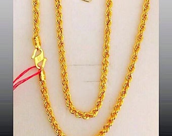 "18"" inches 22k gold 916 gold rope chain necklace 3.5mm"