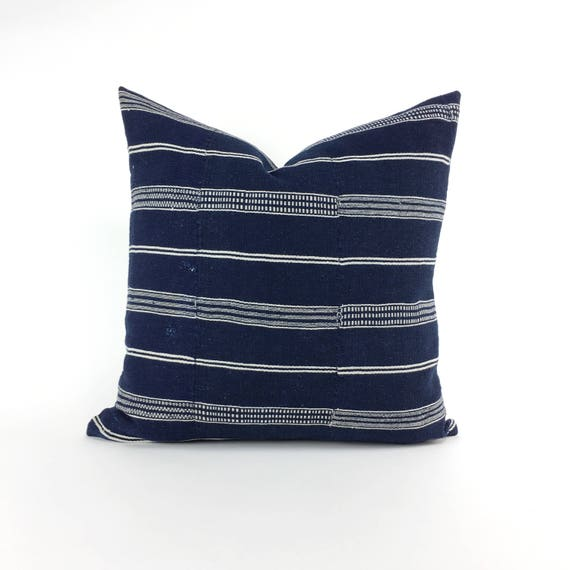 19 x 19 Navy and Ivory Horizontal Striped Pillow Cover