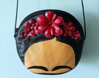 Frida Purse, Leather Purse, Made to Order, Evening Bag, Diego Rivera, Casa Azul, Flower Purse, Mexico, Mexican Artist, Leather Bag