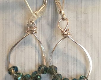 Ancient Earrings / Antique Earrings Style / Roman Jewelry / Greek Jewelry / Green Crystals Silver Hammered Wire Dangle Drop Earrings