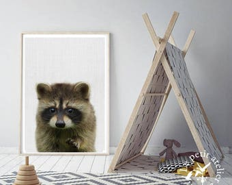 Raccoon Print, Baby Animal, Woodland Animals Wall Art, Nursery Decor, Baby Shower, Large Wall Poster, Wall Art, Forest Animals, Racoon kit