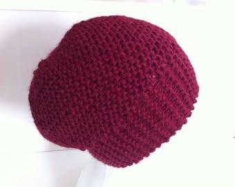 Burgundy alpaca wool hat