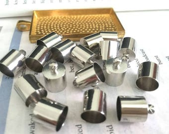 wholesale 100pieces silver metal 9mmx13mm(inner hole 8.5mm)tassel caps/end caps/cord caps/cord findings